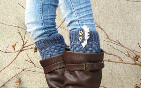 DISCOUNT Boot Cuffs Knitted Leg Warmers Ruffle Trim Button Up Boot Topper with Crochet Lace Trim Buttons for Stocking Stuffers in denim blu by EmofoFashion | women fashion | Scoop.it