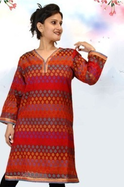 Affordable Kurties Online In India- Red Sleeve Cotton Kurti @ Rs583.00 | KURTIS | Scoop.it