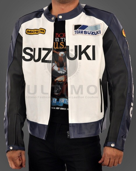 Suzuki Motorcycle Real Leather Biker Jacket - Black & White   You like leather jackets since nobody ignored it   Scoop.it