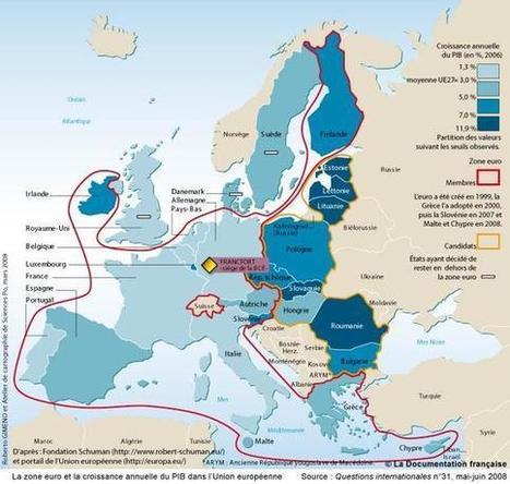 La zone euro et la croissance annuelle du PIB dans l'Union européenne - Economie et indicateurs - Cartes - La Documentation française | ECS Géopolitique de l'Europe | Scoop.it