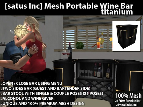 Mesh Portable Wine Bar Titanium by [satus Inc] | Teleport Hub - Second Life Freebies | Finding SL Freebies | Scoop.it