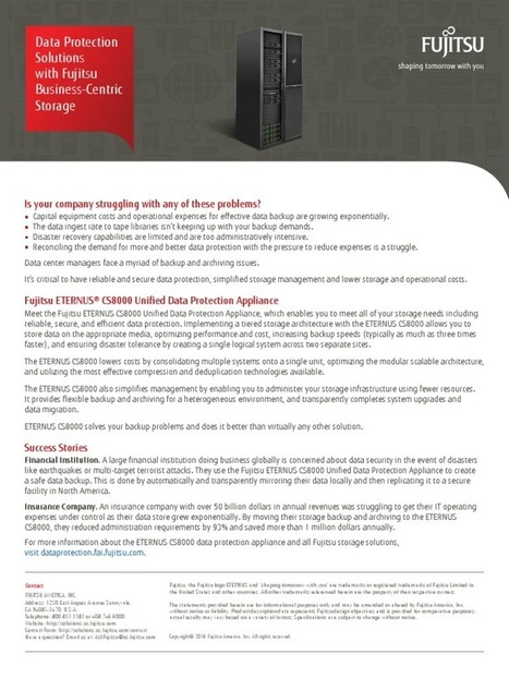 Fujitsu ETERNUS® CS8000 Unified Data Protection Appliance | Technology | Scoop.it