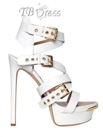 Fascinating White Platform Sheepskin Upper Peep-toe Sandals with Buckles | beauty girl | Scoop.it