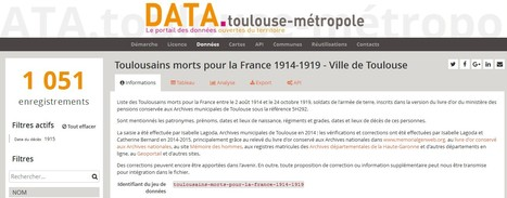 Open Data Toulouse Metropole — Toulousains morts pour la France 1914-1919 - Ville de Toulouse | Nos Racines | Scoop.it