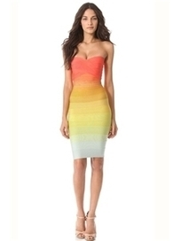 $ 69.99 Sexy Beauty Rainbow Gradient Color Strapless Bodycon Dress | Fashion ladies | Scoop.it