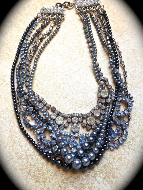 Statement Necklace, Chunky Pearl Necklace, Tangled Necklace, Bib Necklace   vintage jewelry   Scoop.it