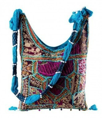 Aqua Blue Mirror Embroidery Work Cotton Shoulder Bag @ Rs. 591 | Gifting Zone | Scoop.it