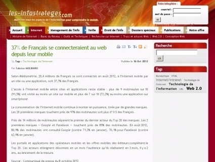 37% de Français se connecteraient au web depuis leur mobile - Websourcing.fr | MédiaZz | Scoop.it