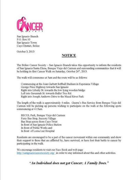BCS Cancer Walk | Belize | Scoop.it