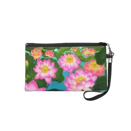 Pink Oriental Lotus Flowers Bagettes Wristlet from Zazzle.com | Messenger Bags, Purses & Totes | Scoop.it