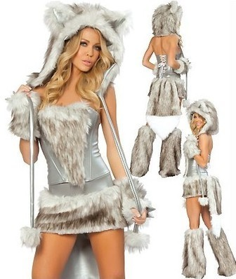Sexy Big Bad Wolf Cat Ear Hoodie Faux Fur Dress Costume YM248   the fashion clothes shoes dress bags   Scoop.it