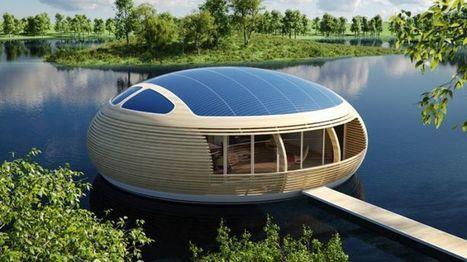 Waternest 100, une maison flottante avec panneaux solaires et 98% de matériaux recyclés | Immobilier 2015 | Scoop.it