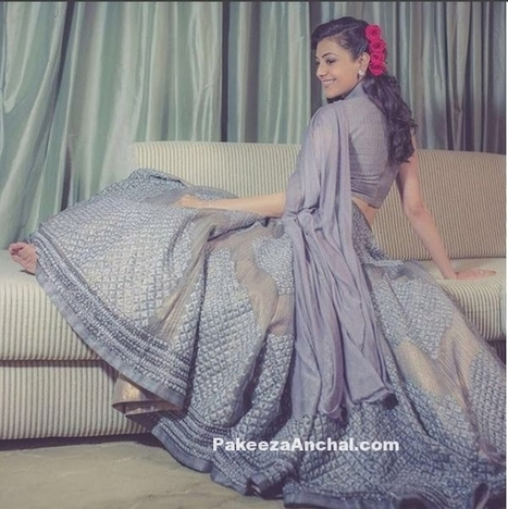 Kajal Agarwal in a Vintage style Grey Lehenga by Shantanu and Nikhil | Indian Fashion Updates | Scoop.it