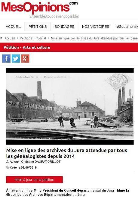 Pétition sur la mise en ligne des archives du Jura | CGMA Généalogie | Scoop.it