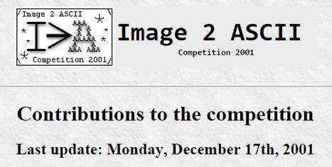 Image2Ascii Competition 2001 | ASCII Art | Scoop.it