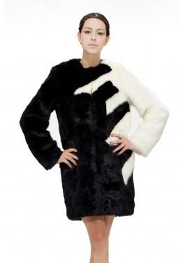 Black with white faux mink fur women middle length coat | Comfortable faux fur coat fashion | Scoop.it