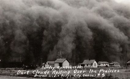 Dust clouds rolling over the prairies, Hugoton, Kansas - Kansas Memory | The Dust Bowl By Melissa K | Scoop.it