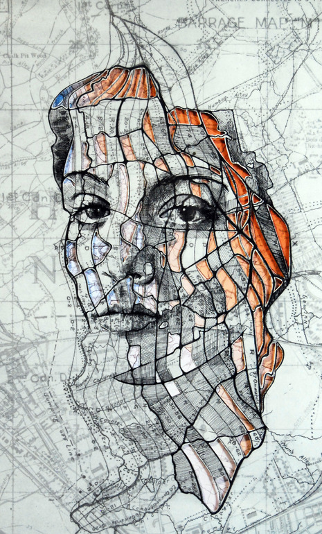 "Saatchi Online Artist: Ed Fairburn; Pen and Ink 2013 Drawing ""Western Front Cutout (Part I)"" 