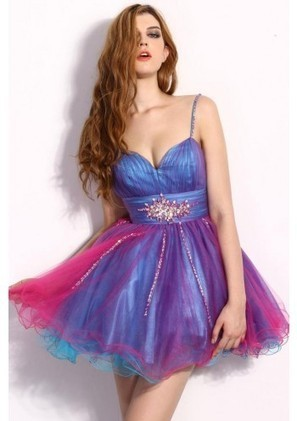 A Line Spaghetti Strap Mini Blue Organza Homecoming Dress Adoaa0050 - Homecoming Dresses - Special Occasion Dresses | mode | Scoop.it