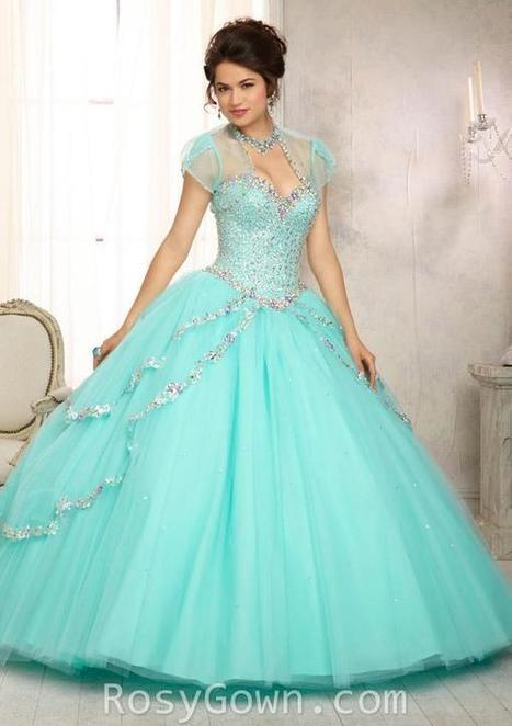 Colored Jewel Beaded Bodice Aqua Tulle Strapless Quinceanera Dress | Cheap Prom Dresses | Scoop.it