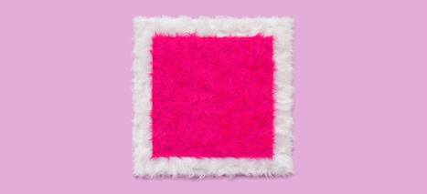 """Pink square on a white background "" by Iwona Demko 