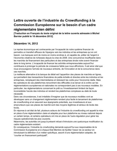 L'industrie du crowdfunding fait appel au commissaire européen Michel Barnier | Le blog de MonArtiste | Eco-veille | Sociofinancement | Scoop.it