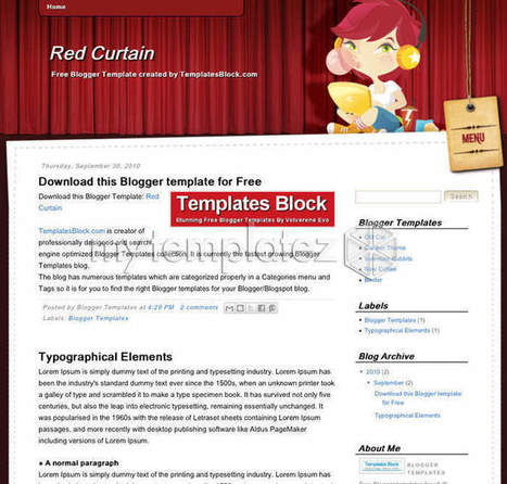 Free Templates Blogger Templates Anime/Cartoon Red Curtain | Blogger themes | Scoop.it