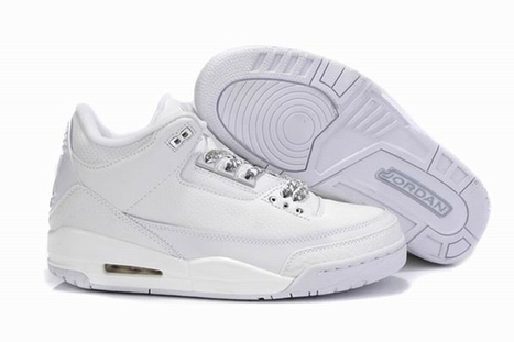 Nike Air Jordan 3 All White Mens Shoes | want and share | Scoop.it