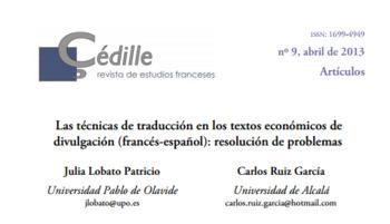 (ES) (FR) (PDF) - Las técnicas de traducción en los textos economicos de divulgación: resolución de problemas | Julia Lobato Patricio & Carlos Ruiz Garcia | Glossarissimo! | Scoop.it