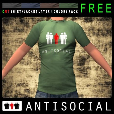 AntiSocial T-Shirt by ANTISOCIAL | Teleport Hub | Second Life Freebies | Scoop.it