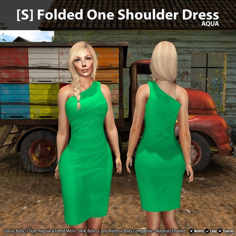 New Release: [S] Folded One Shoulder Dress by [satus Inc] | Teleport Hub - Second Life Freebies | Second Life Freebies | Scoop.it