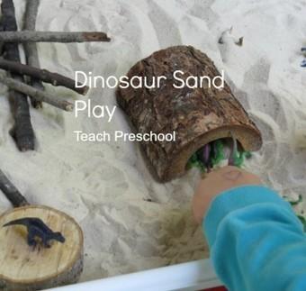 Dinosaur land in the sand table | Teach Preschool | Scoop.it