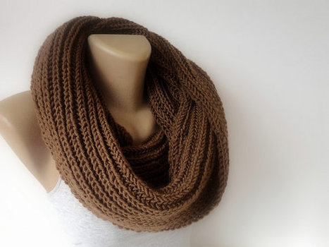 brown winter scarf , infinity scarf, knitting scarf, unisex scarves, eternity scarf, fashion accessories | scarf | Scoop.it