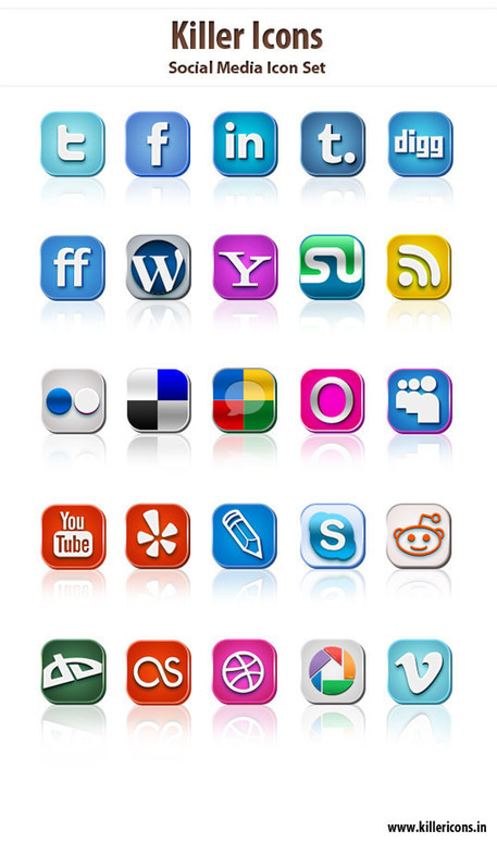 Resource: Free Killer Social Media Icons Set » Illustration » Design ... | Future Library | Scoop.it