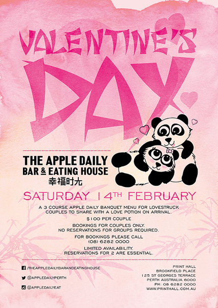 Valentine's Day at The Apple Daily Bar & Eating House - Print Hall | Restaurant | Scoop.it