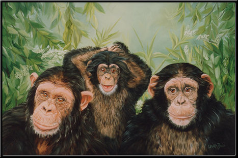 "Grandma's Girls 15"" x 10"" Chimpanzee Family Print 