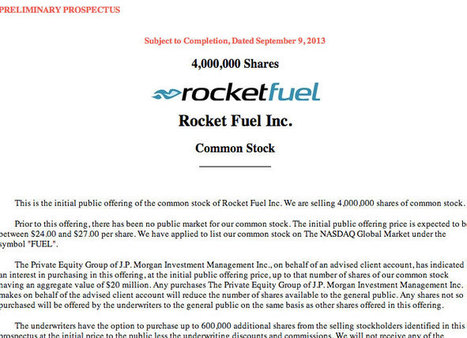Real-Time Ad Network Rocket Fuel IPO Nears $1 Billion Valuation   C.N.A.   Scoop.it