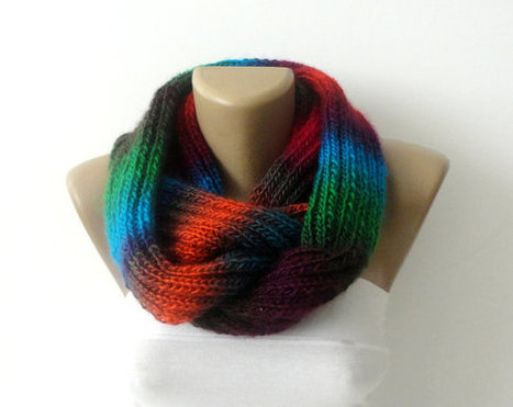 Scarf, women knitted infinity scarf, Chunky multicolor neckwarmer, infinity scarf, lilac, circle scarf, ULTRA SOFT, rainbow | Winter Fashions | Scoop.it