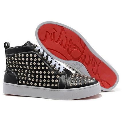 Christian Louboutin Louis Silver Flat Spikes High Top Women's Sneakers Black | Online Shopping | Scoop.it