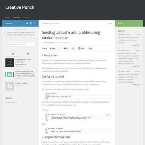 Seeding Laravel 4 user profiles using randomuser.me   Laravel   Scoop.it