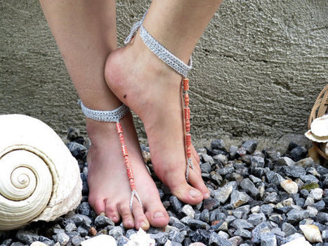 Silvery Grey rope,coral color beaded.Barefoot Sandals,Crochet Sandals,,Silvery grey sandles.. Yoga, Foot Thongs, Nude Shoes, | fashion | Scoop.it