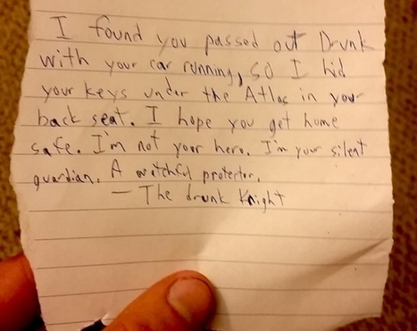Anonymous Hero Leaves Blacked Out Drunk Driver An Awesome Note | Vloasis humor | Scoop.it