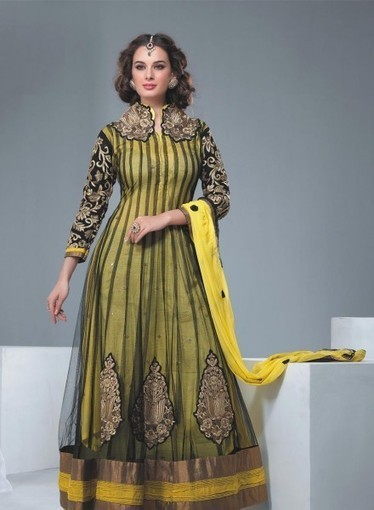 Abaya Style Net Anarkali In Yellow with GF6140756. Buy online with confidence | Anarkali Suit | Scoop.it