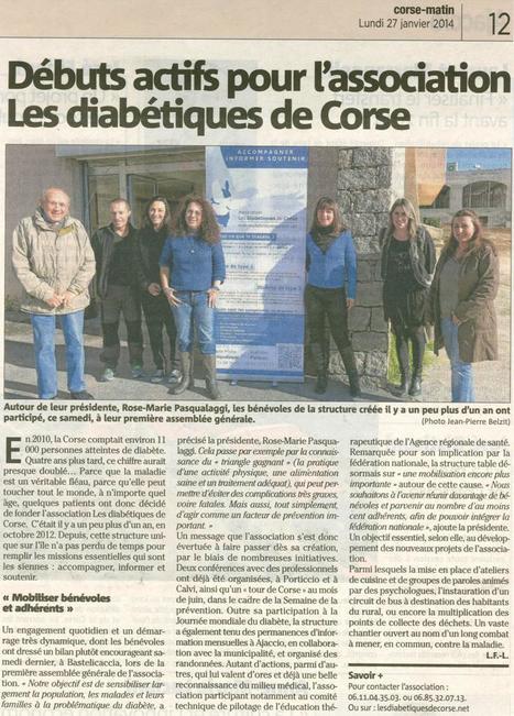 Nouvel article de Corse Matin sur l'AGO de l'Association les Diabétiques de Corse. | ADC | Scoop.it