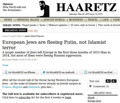 "'Haaretz: "" European Jews are Fleeing Putin, Not Islamist Terror""' 