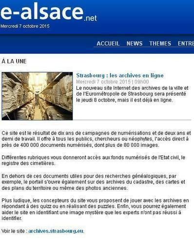 Archives de Strasbourg en ligne | Cercle Genealogique de Maisons-Alfort | CGMA Généalogie | Scoop.it