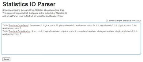 SQL Playground - Tips and Tricks for your daily Job: Statistics IO Parser | MYSQL | Scoop.it