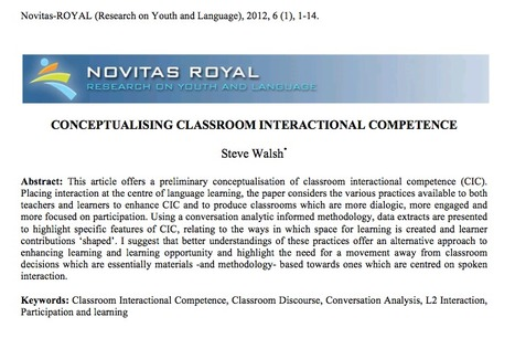 Conceptualising Classroom Interactional Competence: Steve Walsh (2012) | TELT | Scoop.it