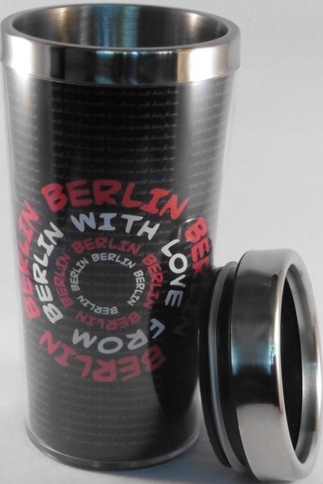 Reisebecher Berlin | With Love From Berlin,Schrift Motive,Schwarz | Berlin Souvenirs, Geschenke und Sri Lanka Ayurveda  #Shopping | Scoop.it