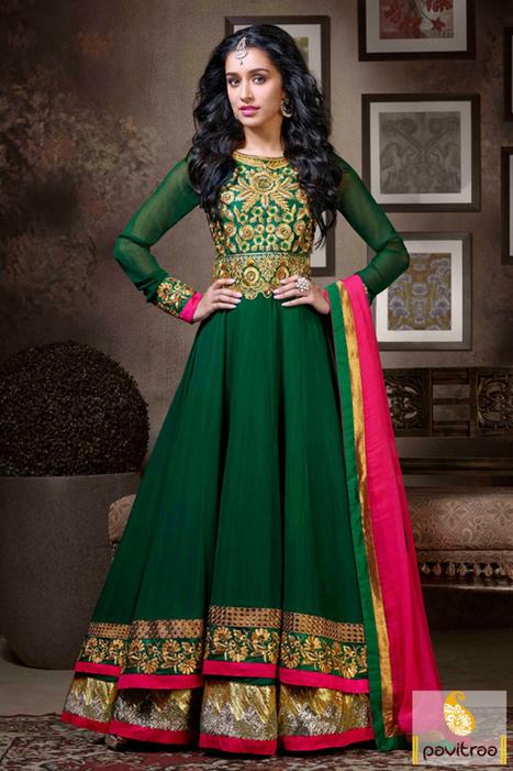 Green Floor Length Anarkali Party Wear Dress   Pavitraa   Scoop.it